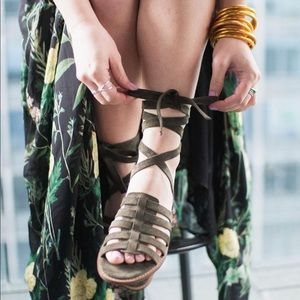 Olive Green D'Orsay Ankle Wrap Gladiator Sandal